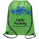 Promotional Green NonWoven Drawstring BackPack Bag(18020)